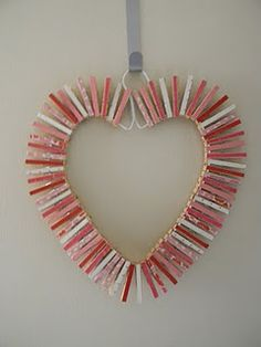 Clothespin heart Valentine's Day wreath.  All you need is a hanger and some clothespins