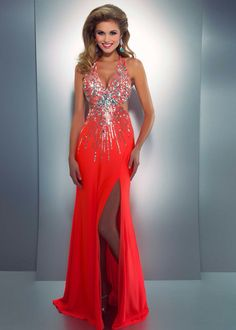 gorgeous orange sequin prom dress