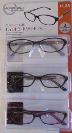 c11c287f5a DESIGN OPTICS 3-PACK +1.25 FULL FRAME LADIES FASHION READING GLASSES B33-8   DESIGNOPTICSbyFOSTERGRANT