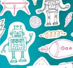 Pañuelos Familia® Chic Metallic. Un Toque Chic que le dará brillo a cualquier lugar. Surface Pattern, Robot, Textiles, Pista, Chic, Drawings, Monsters, Space, Holiday