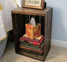 DIY Nightstand Crates: Crates DIY Nightstand With Tissue Box – Bloombety