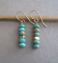 Items similar to Blue Arizona Turquoise Mountain Natural Turquoise, Gold Fill, Ethnic Rustic Contemporary Minimalist Bright Drop Earrings -Stone Stacks on Etsy Blue Earrings, Gemstone Earrings, Beaded Earrings, Earrings Handmade, Handmade Jewelry, Handmade Items, Boho Jewelry, Jewelry Crafts, Beaded Jewelry