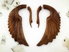 Super cool wood swan earrings