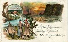 Hilsen fra Norge 3-bilders kort med Nordkapp Vikingskip og Samer Utg Abels forlag brukt 1920