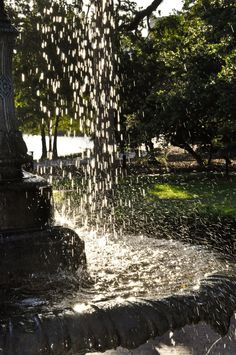 Sunrise reflected through falling water in a fountain at Orlando's Lake Eola Park, taken on May 24, 2012 by Chris G.