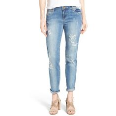 KUT from the Kloth 'Catherine' Distressed Stretch Boyfriend Jeans ($94) ❤ liked on Polyvore featuring jeans, verify, torn boyfriend jeans, destroyed jeans, ripped jeans, destroyed boyfriend jeans and ripped blue jeans