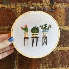 """*SOLD* Just re-fit this #succulent embroidery into a 5"""" hoop that fits the design better. Link in Bio!"""