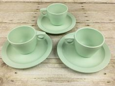 Vintage Boonton Ware 3 Cups and Saucers Jadeite Color Retro Kitchen | eBay