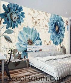Beautiful dream fresh pattern blue peony butterfly wall art wall decor mural wallpaper wall IDCWP-000184