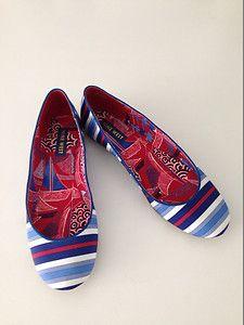 Nine West Women's Ballet Flat Shoe Size 8 5 M Blue White Red Striped | eBay