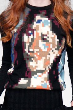 We love this pixelated portrait knitwear from Sister by Sibling #AW14 #LFW