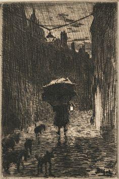 """Félix Buhot (French, 1847-1898) - """"Pluie et Parapluie"""" (Rain and umbrella), 1872-91 - Etching, drypoint, aquatint"""