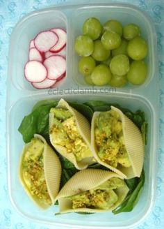 Avocado Salad Shells, sliced radishes, grapes