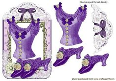 PRETTY LACE PURPLE VINTAGE BASQUE SHOES on Craftsuprint designed by Nick Bowley - PRETTY LACE PURPLE VINTAGE BASQUE