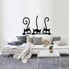 Cute Cat Shh Pattern Toilet Wall Stickers Unique Removable Decal Vinyl Mural Art