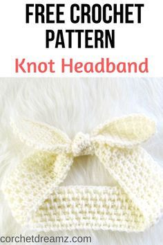 This free crochet headband pattern includes sizes for baby, kids, and women. This easy tutorial will help you make a perfect summer accessory. Make a mummy and me pair today. # crochet headband Knot Me Up Headband, Free Crochet Pattern Crochet Ear Warmer Pattern, Crochet Headband Pattern, Easy Crochet Patterns, Crochet Baby Headbands, Crochet Hairband, Lace Headbands, Crochet Simple, Quick Crochet, Free Crochet