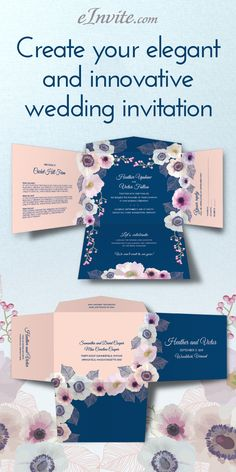 Introducing eInvite's newest Vintage Floral Wedding Invitation. Romantic floral design features a retro look that is perfect for your wedding. All your information in one place, with a revolutionary Self Mailer design. Customize your sample invitation and feel the quality, and unique designs at eInvite.com only for $9.00.