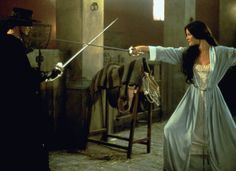 The Mask of Zorro -  Alejandro: Be careful señorita, there are dangerous men about.  Elena: Well if you see one, be sure to point him out.