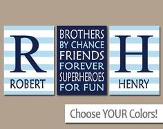 BROTHERS Wall Art- Boy Bedroom Artwork- Canvas or Prints- Boy Quote Decor- Shared Brother Room-Friends Superheroes-Navy Blue Stripe Set of 3