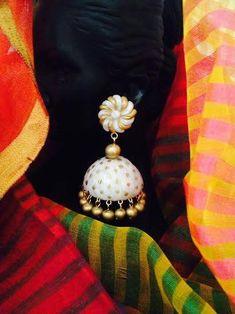 Handmade polymer clay jhumka/ jhumki earrings creme and gold