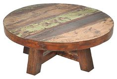 """I love round coffee tables and reclaimed wood.  40"""" Claire Round Coffee Table $695 marked down to $359."""