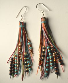 Colored hemp and bead tassel earrings