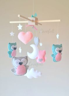 Baby mobile Owl mobile Baby crib mobile Baby by lovefeltmobiles