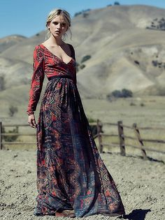 Free people saffron printed maxi in Blood Orange