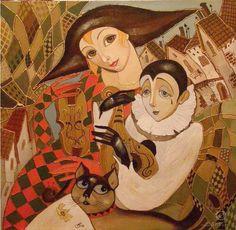Pierrot, Contemporary Art, Disney Characters, Fictional Characters, Art Pieces, Felt, Princess Zelda, Abstract, Artist