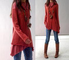Gesicht - geschichteten wollene Tunika-Kleid (Y1221)