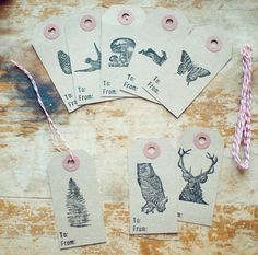 8 Woodland To/From Holiday Gift Tags with Red & White Twine. $6.00, via Etsy.