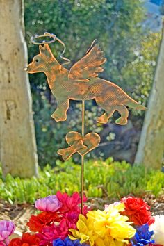 German Shepherd Pet Grave Marker Garden Plant Stake, Metal Garden Art, Pet Memorial, Yard Art, Copper Garden Art, Dog Angel, Pet Sculpture