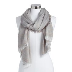 Scarves and Shawls -Surround yourself in the terrific texture of our lightweight scarf. A soft gray chambray ground with stripes of neutral overstitching and delicately frayed ends make it an instantly transformative piece. Also could be used for scarf,shawl,scarves for women,scarves and shawls,women's scarves,womens scarves,women scarves. By Cost Plus World Market.587467 THE❤BEAST❤SHOP❤OFFERS❤