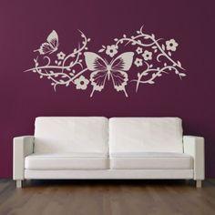 Butterflies Flowers Decorative Wall Art Stickers Decal - Butterfly Wall Stickers - Animals