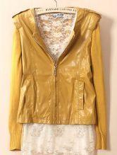 Yellow Long Sleeve Zipper PU Leather Coat $55.63