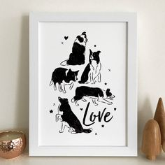 A modern 'Love' print for Border Collie lovers.Available as an A4 or A3 print. Framing is available for the A4 print only, with a black or white wood frame.The design features a series of silhouette illustrations of a Border Collie with the word 'Love' written in a modern script.Printed on 225gsm acid-free paper with pigment inks for long-lasting colour. Framing is available using a 22mm wide, 30mm deep black or white picture frame made from real radiata pine wood with a paint...
