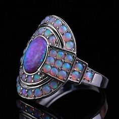 Antique crystal opal ring