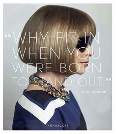 """Personalized Photo Charms Compatible with Pandora Bracelets. Anna Wintour quote """"Why fit in when you were born to stand out"""" power women ♥"""
