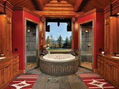What do you think of this Jackson Hole, Wyoming bathroom? Is it taking the 'his and her' thing too far?    We seem to have lost the link for this one but if you're looking for bathroom inspiration, you'll find plenty at http://theownerbuildernetwork.com.au/bathrooms/