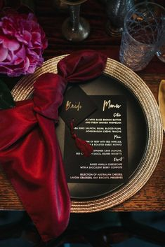 Lush Modern Wedding Inspiration Lush Modern Wedding Inspiration The Wedding Fair - Calgary weddingfairAB Inspiration Modern romantic wedding reception place setting with burgundy napkin, black menu and place card with gold foil Wedding Reception Places, Romantic Wedding Receptions, Romantic Weddings, Wedding Themes, Wedding Table, Wedding Decorations, Wedding Napkins, Wedding Favors, Wedding Dresses