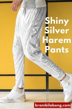 Shiny Silver Harem Hip Hop Pants For Dancers