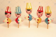 Vintage Birthday Candle Holders Cupcake Toppers Clowns. $12.00, via Etsy.