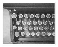 Vintage Typewriter Photography / Old Dark Rustic Antique / Library Art / Still Life Photograph / Black and White Photography Modern Wall Art on Etsy, $30.00