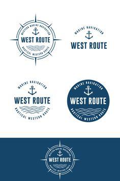Nautical Logo Design. Marine Logo Design. Maritime Logo. Sailor Logo Design. Naval Route Logo. Navy Premade Logo by KreativDesk on Etsy