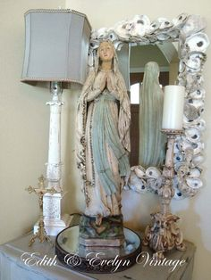 Huge Vintage Our Lady of Lourdes Statue 29 Tall by edithandevelyn