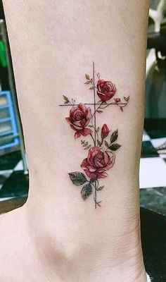 Tattoos with meaning, pretty tattoos for women, rose tattoos for wo Cross Tattoos For Women, Tattoo Designs For Women, Tattoos For Women Small, Cross Tattoo Designs, Girl Cross Tattoos, Small Cross Tattoos, Simple Cross Tattoo, Beautiful Tattoos For Women, Tattoo Girls
