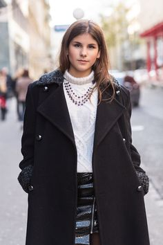 The Fashion Fraction flaunts it in our Genuine Amethyst Pearl Statement Necklace with Sterling Silver details. Pearl Statement Necklace, Vintage Coat, Street Style Looks, Lbd, Amethyst, Jewels, Sterling Silver, Jackets, Fashion
