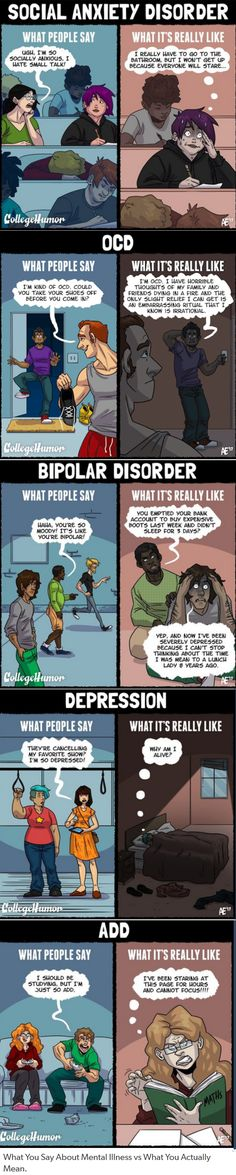 People make light of these disorders, but they don't understand what they're really like (myself included)<<< I actually have social anxiety, depression and ADHD/ADD (suspected anyway) and I think I also have OCD