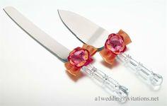Wedding Cake Knife Server Colors Hot Pink Orange