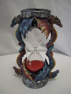 Medieval Dragon Hourglass Sand Timer Mythical Magical Gothic Red Blue Dragons